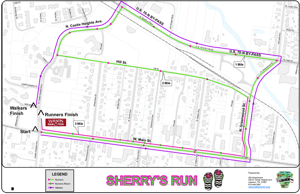 Sherry's Run Course Map